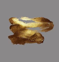 hand drawing gold brush stroke vector image vector image