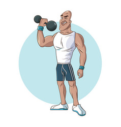 Healthy man athletic muscular lifting weight vector
