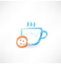 Hot cup grunge icon vector image vector image