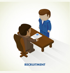 isometric interview for the vector image vector image