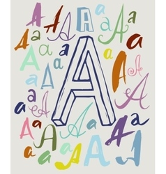Letter A in different styles vector image