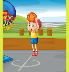 Little boy shooting basketball vector