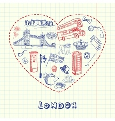 London Pen Drawn Doodles Collection vector image vector image