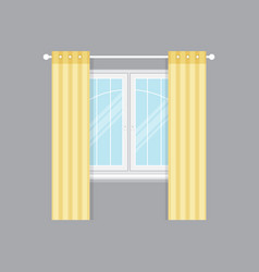 Modern drapery window isolated object vector