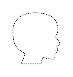People head sign black dashed icon on vector
