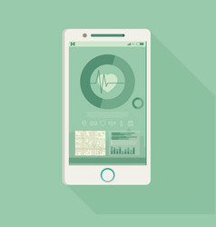 Phone with fitness application for health vector
