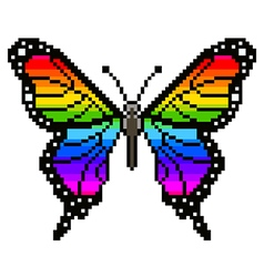 Pixel colorful butterfly isolated vector image