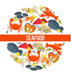 seafood poster of fresh fish catch for sea food vector image vector image