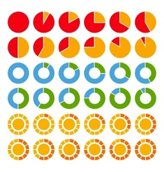 Set of brightly colored pie charts vector image