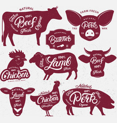 set of butchery logo label emblem poster vector image