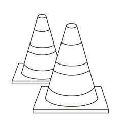 Silhouette striped couple traffic cone flat vector