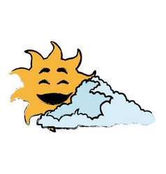 sun and cloud cartoon mascot drawn vector image vector image