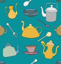 Tea patterned background vector