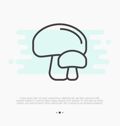 thin line icon of mushrooms champignon vector image