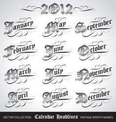vintage calendar month titles vector image
