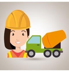 Worker mixer cement machinery vector