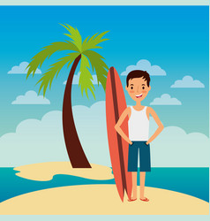 young man standing with surfing board beach vector image