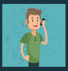 Young man talking smartphone media green vector