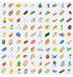 100 victory icons set isometric 3d style vector