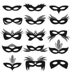 Black carnival party face masks isolated on white vector image