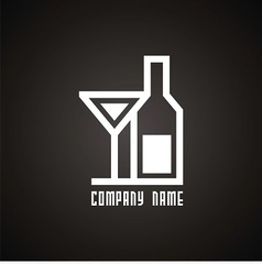 logo bottle and wineglass vector image