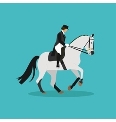 Race horse and lady jockey horseback riding vector