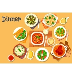Dinner icon with dishes of italian german cuisine vector