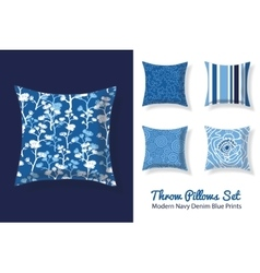 Set of throw pillows in matching modern denim blue vector