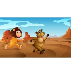 A lion and a bear running vector image