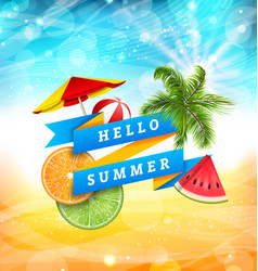 Summer fun poster design with watermelon umbrella vector