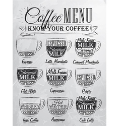 Coffee menu cup coal vector