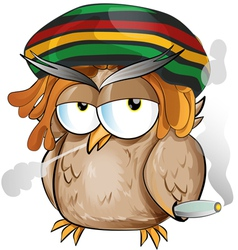 Rasta owl cartoon vector