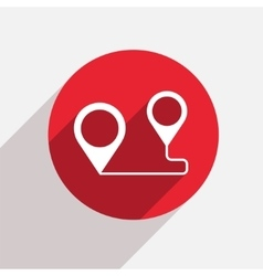 Modern map pointer red circle icon vector