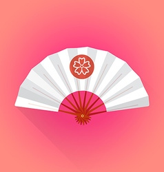 Flat style white color japanese style hand fan vector
