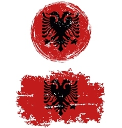 Albanian round and square grunge flags vector