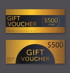 Gift voucher template with gold pattern gift vector