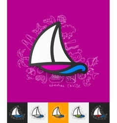 Sailboat paper sticker with hand drawn elements vector