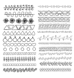 Set of hand drawn line borders vector image