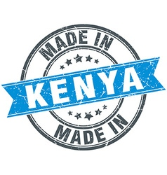 Made in kenya blue round vintage stamp vector