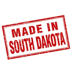 South dakota red square grunge made in stamp vector