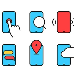 Different smartphone pictograms Lineart design vector image