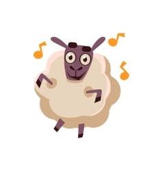 Sheep dancing with music vector