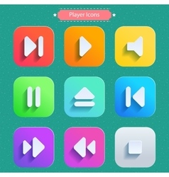 Long shadow icons icons set for media player vector