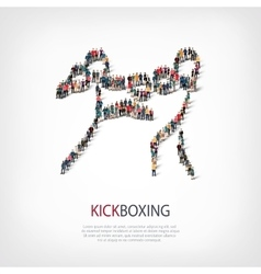 People sports kickboxing vector