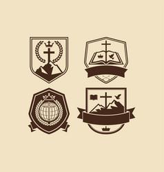 A set of christian and biblical logos vector