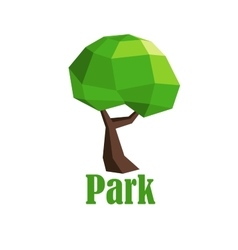 Abstract polygonal green tree icon vector image