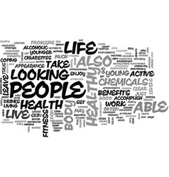 benefits of a life of health and fitness text vector image vector image