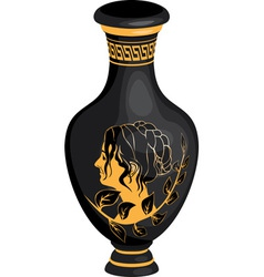 black greek vase with female profile vector image