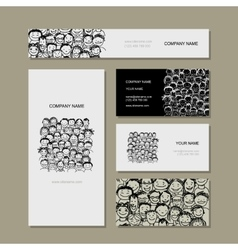 Business card people crowd for your design vector image