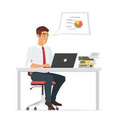 businessman working at the computer vector image